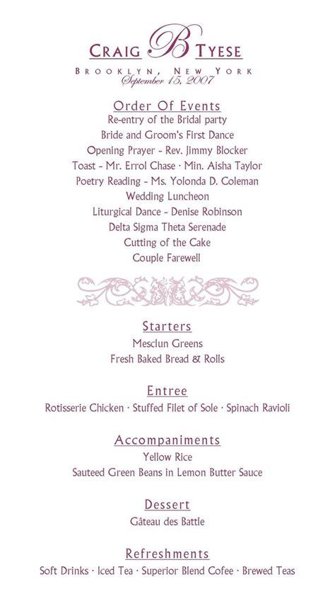 wedding reception program sle mini bridal