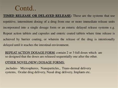 repeat action dosage form oral sustained and controlled release dosage forms