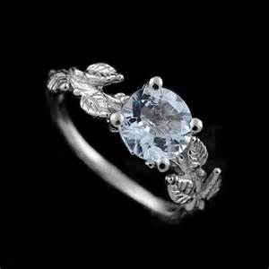 organic wedding rings crafted leaves accent aquamarine gemstone organic engagement ring orospot jewelry on
