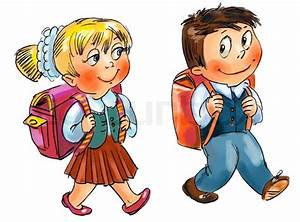 Jungen und Mädchen zur Schule gehen Hand gezeichnet ...