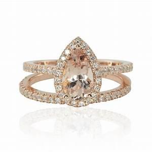 pear shaped morganite engagement ring pear cut morganite With pear shaped wedding ring set