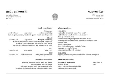 andy ankowski advertising copywriter resume