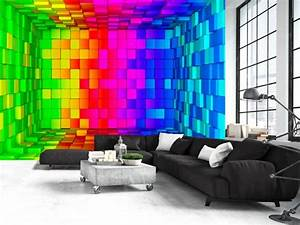 photo wallpaper rainbow cube 3d 3d and perspective With balkon teppich mit tapeten 3d