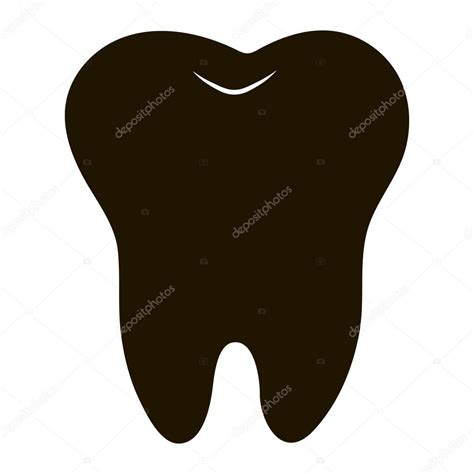 simple cartoon tooth white silhouette on a blue background teeth vector illustration icon