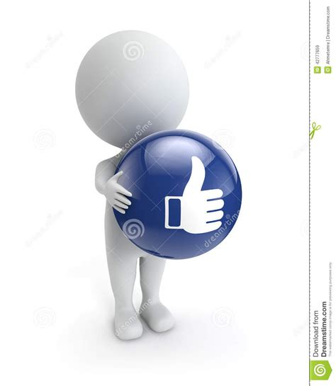 3d Cute People- Like Button Stock Illustration - Image ...