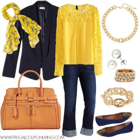 Frugal Fashion Friday Navy and Gold Outfit - Polyvore Concept
