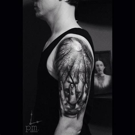 face dark forest tattoo  shoulder  tattoo ideas