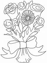 Bouquet Coloring Flower Pages Rose Flowers Printable Clipart Valentine Carnation Roses Clip Daisy Adults Doodle Colouring Others Colour Bouquets Entertainment sketch template
