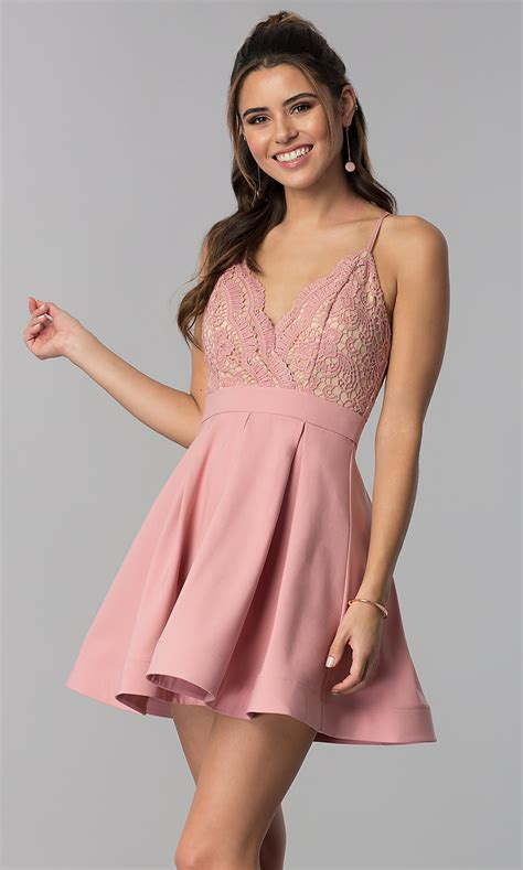 V-Neck Lace-Bodice Short Mauve Pink Homecoming Dress