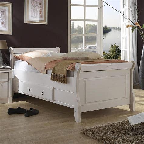 Skandinavische wohnzimmerschränke | wohnzimmer anbauwand. Bett mit Schublade 100x200cm Holzbett Kiefer massiv weiß