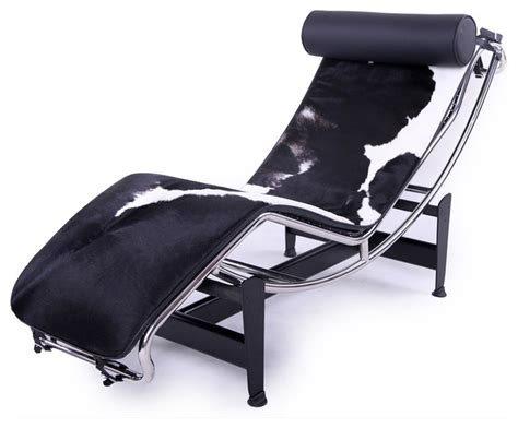 chaise lounge black white cowhide modern indoor