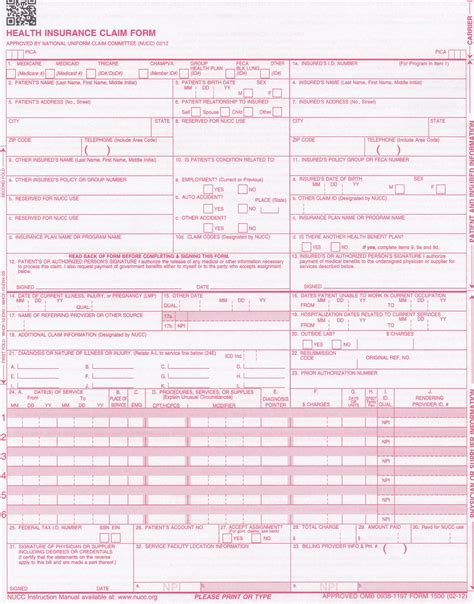 medicare 1500 form new cms 1500 form 02 12 wcms1500cs 12 stockchecks