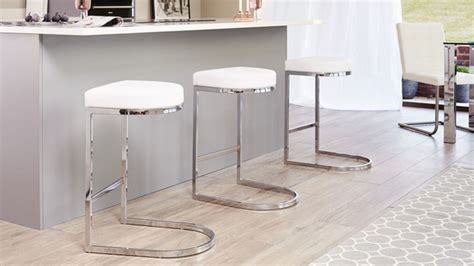 White Form Chrome Bar Stool
