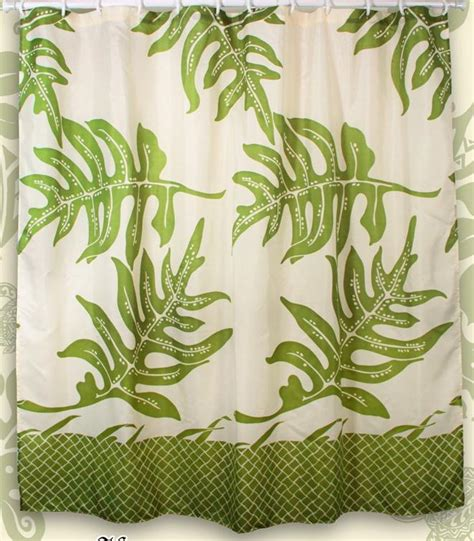 lauae fern hawaiian quilt print bathroom fabric shower