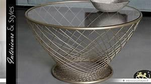 Table Basse Dorée : table basse ronde moderne en verre et m tal finition dor e 90 cm int rieurs styles ~ Teatrodelosmanantiales.com Idées de Décoration