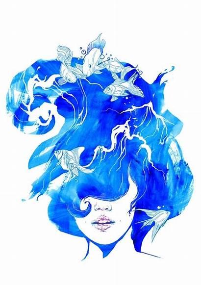 Hair Water Illustration Drawing Fish Floating Drawings