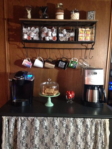 See more ideas about coffee bar, coffee bar home, coffee nook. My coffee bar. Love how it turned out! Stand I already had, shelf was from Hobby Lobby (don't ...