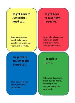 break cards   classroom zones  regulation