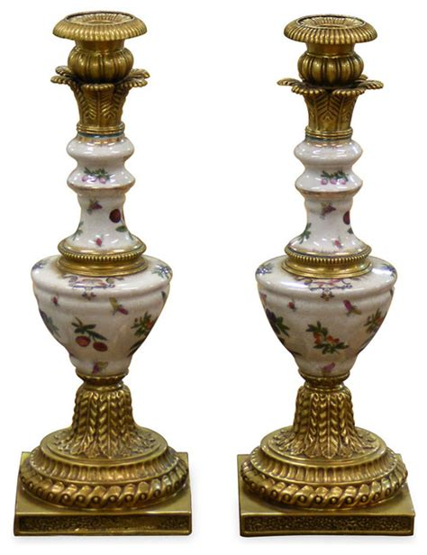hand painted porcelain candle holders asian