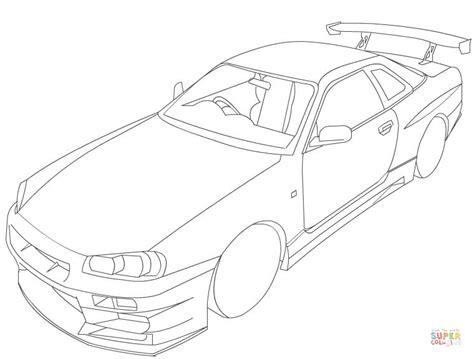 Gtr Kleurplaat by Nissan Skyline R34 Coloring Page Free Printable Coloring