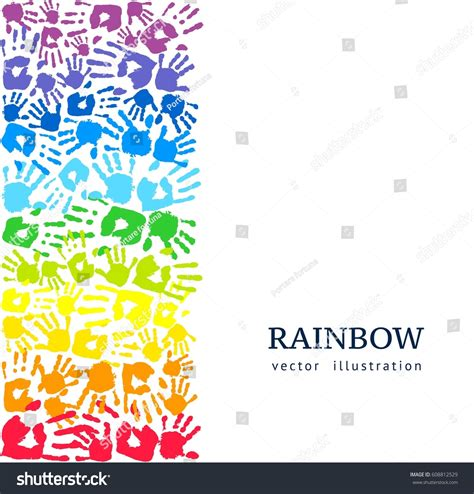 border  colored hands rainbow background stock vector
