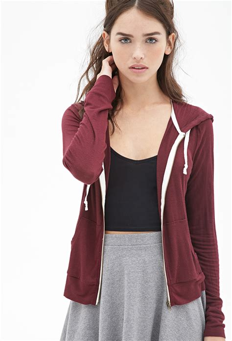 Forever 21 Classic Zip-up Hoodie in Purple   Lyst