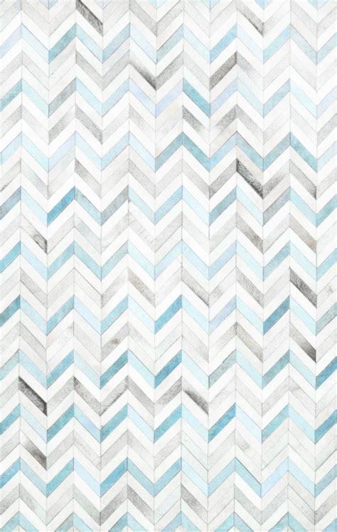 Herringbone Blue Gradient Floor Tiles Pattern Rugs