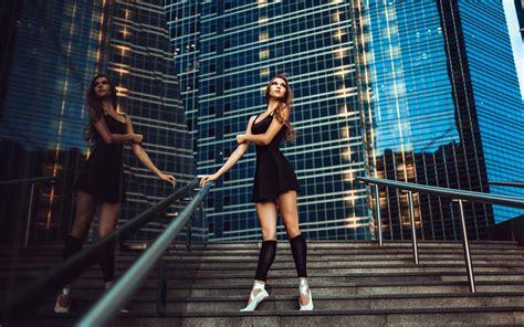 black dress girl city ballerina grace stairs wallpaper