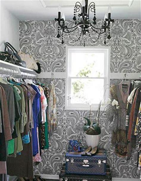 black and white damask wallpaper contemporary closet