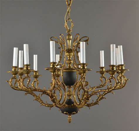 Vintage Chandelier by Bronze Tole Large Chandelier C1940 Vintage Antique