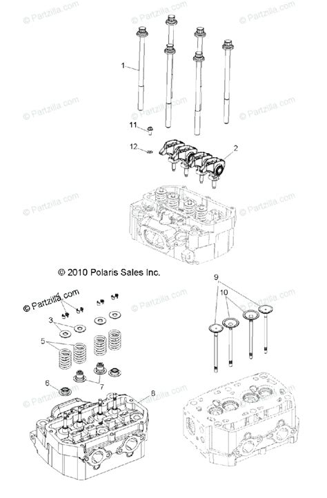 polaris side by side 2011 oem parts diagram for engine cylinder head valves all options