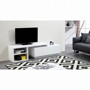 Meuble Tv Extensible : lounge meuble tv extensible 150 280 cm laqu blanc achat ~ Teatrodelosmanantiales.com Idées de Décoration