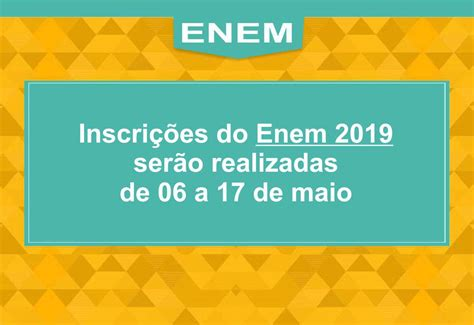 Inscrições ENEM 2019