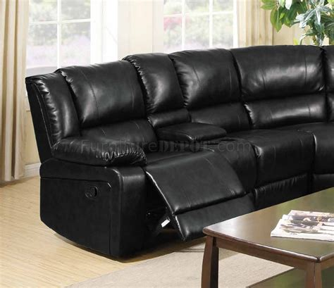 black leather sectional sofa with recliner 8300 reclining sectional sofa in black bonded leather w