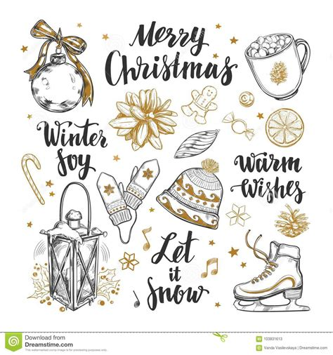 Merry Christmas And Happy New Year Set Vector Hand Drawn