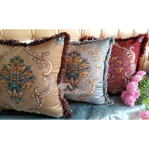 brown couch pillows square creamblue polyester jacquard
