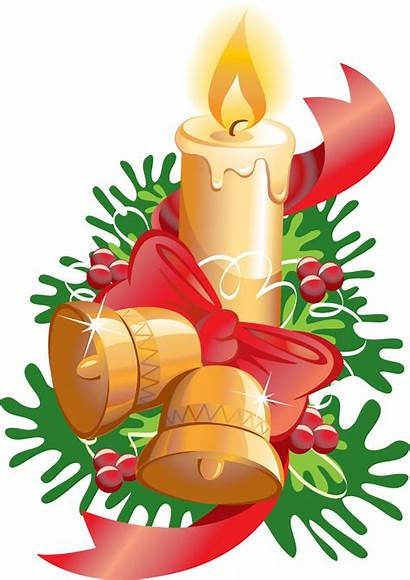 Candle Christmas Ribbon Bells Candles Transparent Clipart