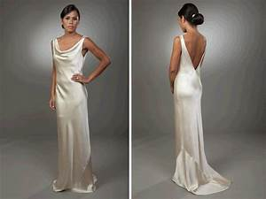 sleek column silk wedding dress with open v back onewedcom With silk sheath wedding dress