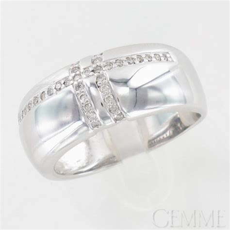 bague bandeau or blanc diamants taille moderne