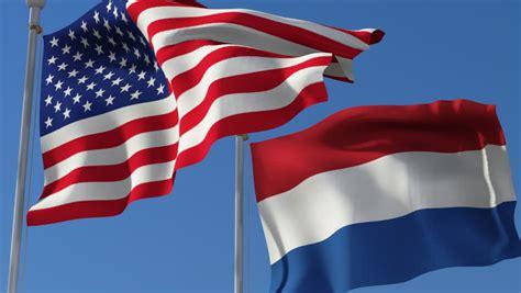 flag  france  usa waving   wind  blue sky
