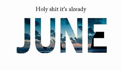June Summer Beach Month Text Collage Colorful