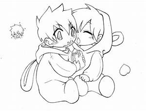 Cute Anime Couple Coloring Pages Chibi Coloringstar