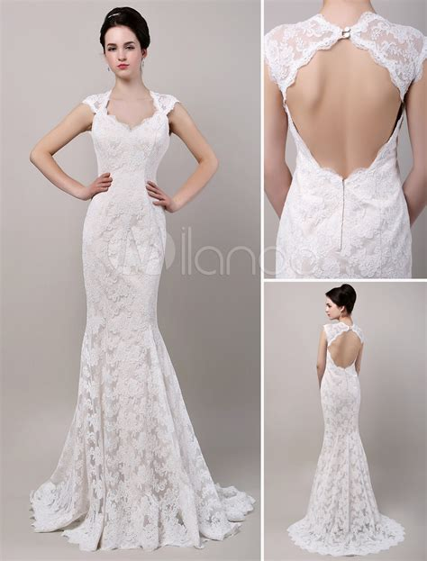 Mermaid Sweetheart Chapel Train Open Back Lace Wedding