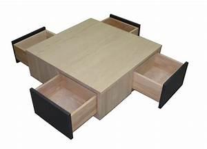 Table Basse Chene Blanchi : table basse 4 tiroirs en toile ch ne blanchi et laqu noir balustrade ~ Melissatoandfro.com Idées de Décoration