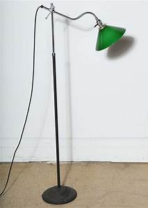 1940s articulating reading lamp with green glass shade for With floor lamp with green glass shade