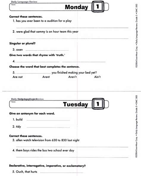 daily language review worksheets second grade math