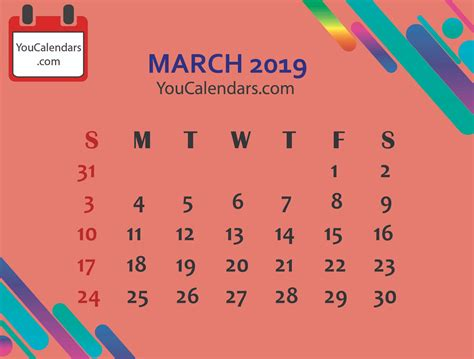 march calendar printable template calendars