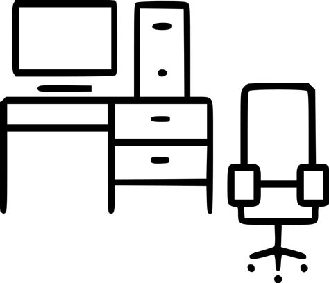 computer table chair living room office furniture svg png