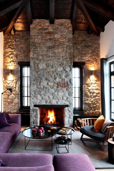 natural stone wall  modernized historic building