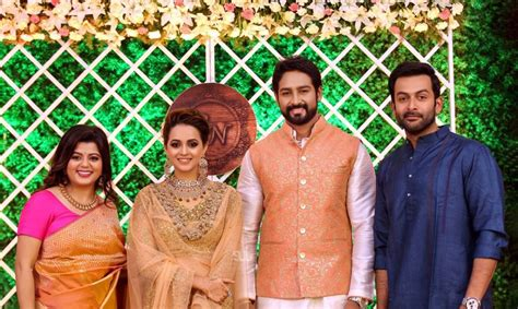 mammootty prithviraj attend bhavana  naveen wedding
